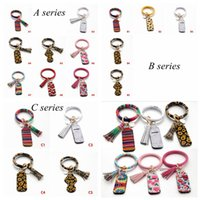17 styles Neoprene Lipstick Holders Keychain Lip Cover Handbag Keychain Suncreen PU Bracelet Leopard Chapstick Holder YYA449 sea shipping