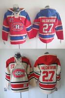 2015 Montréal gros hommes Canadiens # 27 Galchenyuk beige / rouge à capuchon Maillots Hockey Chandail Sweat-shirts, Livraison gratuite