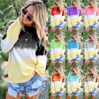 Kadın Kravat Boyalı Gökkuşağı Degrade Baskılı Uzun Kollu Kazak Kısa Kollu Casual T-Shirt Bluzlar S-5XL Tops