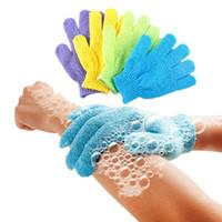 2020 Peau Douche débarbouillette Douche Scrubber Retour Gommage Exfoliant Corps Gants de massage éponge bain hydratant Spa peau tissu 8 couleurs