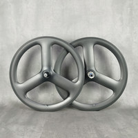 451 karbon tekerlek 20 inç 3 konuşmacı yol pisti sabit dişli bisiklet mat 3 k tam karbon jantlar tri-konuştu yol hub powerway r13