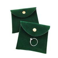 مغلف الأكياس المخملية المخملية مجوهرات هدية الحقيبة التعبئة والتغليف الحقيبة مع المفاجئة السحابة الغبار والدليل على المجوهرات تخزين الأخضر