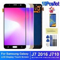 100٪ اختبار لوحات عالية الجودة لسامسونج غالاكسي J7 2016 شاشة LCD J710 J710F J710M تعمل باللمس محول الأرقام استبدال التجميع الكامل Incell و OLED