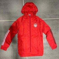 Sweatshirt rüzgarlık Yeni 2020-21 Olympiakos erkek futbol kapşonlu ceket rüzgarlık palto tam fermuar futbol Erkek ceketler kapüşonlu