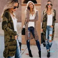 Hot Sale Designer Leopard Long Coat Spring Loose Thin Cardigan Trench Coats Fashion Contrast Color Female Clothing Womens