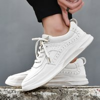 Men's Summer Breathable Mesh Casual Shoes Men's All-match White Shoes Genuine Leather Korean-Style Trendy