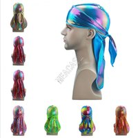 Colorful Laser Sparkly Durags Turban Shiny Silky Durag Bandana Turban Wigs Wave Caps Hip Hop Headband Accessory Pirate Caps Rags Hat D82411