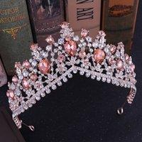 Kraliyet Gelin Bantlar Düğün Saç Aksesuarları Y200807 için KMVEXO Barok Rose Gold Pembe Kristal Gelin Tiaras Taçlar Yapay elmas Diadem