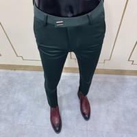 2020 새로운 남성 사회 바지 패션 슬림 버튼 정장 바지 남자 녹색 바지 거리 의류 남성 비즈니스 슬림 드레스 솔리드 정장 팬츠