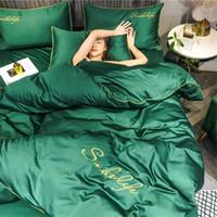 고품질 패션 침구 2020 세트 침대, 간단한 스타일 이불 커버 플랫 시트 침구 세트 겨울 왕 여왕 리넨 침대 설정합니다