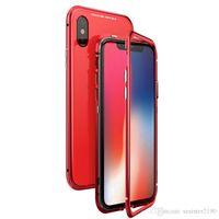 Casi di adsorbimento magnetico per iPhone x 7 8 PLUS Luxury Back Cover XS XR XSMax Magnete Magnete Caso di vetro temperato