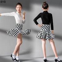 Stage Wear Girl 2021 Abito da ballo latino Bambini CHA / Rumba / Tango / Salsa / Salsa / Abbigliamento per prestazioni Stripe Zebra Moda Bambini Costume