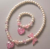 Menina miúdos das novas jóias crianças pérola Pulseira duas peças conjunto de amor Estrela borboleta princesa presente de Natal Jóias