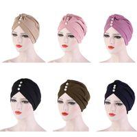 Мода Solid Color Внутренняя крышка для хиджабы Лба Cross гофрированной мусульманской тюрбан хиджаб Bonnet С Pearl исламской Wrap индийского Hat