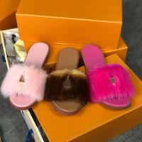 최고 품질 여성 모피 샌들 패션 슬라이드 슬리퍼 잠금이 플랫 뮬 밍크 슬리퍼 여성 비치 파티 신발 크기 35-42