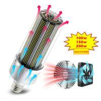 عالية الطاقة E27 LED لمبة 100W 150W 200W السوبر مشرق 2835 الذرة المصباح 110 فولت 220 فولت E39 / E40 الصمام مصباح بناء في مروحة تبريد للمستودع