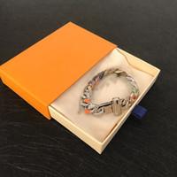 Top colorido de los diamantes Pulsera Pareja Pulsera de acero de alta calidad collar de diamante salvaje Titanio Enviar Box