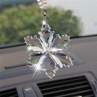 Yentl Auto Anhänger Transparente Kristall Schneeflocken Dekoration Suspension Ornamente Sun Catcher Schneeflocke Hängende Trimmung Weihnachtsgeschenke