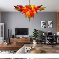 Moderne Kronleuchter LED-Lampen Quelle Mund Geblasener Glas Pendelleuchten Leuchten Sonnenuntergang Orange Gelbe Hängelampe Home Innenlicht Für Verkauf