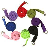 Chegada Nova Cotton Blended Poliéster Stripes Yoga cor sólida antiderrapante exercício do estiramento Belt Yoga Bandas Correias com D-ring