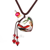 Yingwu Herz Murano Glasflasche Anhänger Halskette Perfume Ätherisches Öl Diffuser Handgefertigte