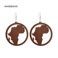 Dangle Avize Whitewho 60 cm Doğal Kahve Ahşap Lazer Kesim Afrika Haritası Küpe Vintage Afrika Afro Takı Ahşap DIY Kulübü Oymak A