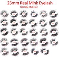 ELR002 Commercio all'ingrosso 25mm 3D Real Mink ciglia per capelli 5D Super Lungo visone ciglia Imballaggio in vassoio Accetta logo Stampa spedizione gratuita