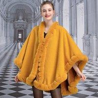 X009 유럽과 미국의 새로운 패션 겨울 의류 여성 케이프 농축, 모조 렉스 모피 망토