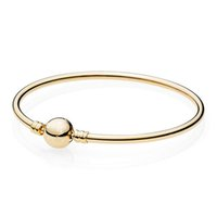 Nouveau Argent 925 Bracelets de cheville de couleur Ballon d'Or fermoir clip Convient Bracelet lisse Bracelet Fit Perle Charm Bricolage Bijoux originaux