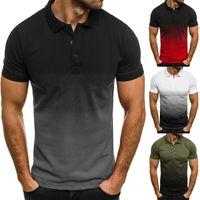 Мужские Polos Men Летняя рубашка Мода Хлопок с коротким рукавом Высококачественные рубашки Мужской Градиент Дышащий TEE для улицы