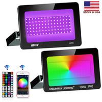 100W RGB LED Flood Light, 44 Keys Controller, Bluetooth-app, dimbar färgbyte Floodlight, IP66 Vattentät, Väggbricka Ljus