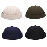 남성 여성 레트로 돔 멜론 Brimless 비니 모자 단색 유행 6 개 패널 캐주얼면 도커 선원 기계공 모자 Skullcap
