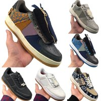 2020 AF1 TS Corduroy e Couro Low Cut Skate Sneaker Originals TS x AF1 antiderrapante de borracha Built-in Zoom Air Sports Shoes