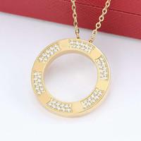 2020 collar de plata del color de calidad superior amante colgante de oro para las mujeres de perforación completa Collares Nuevo diseño de la joyería de regalo con bolsa original
