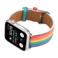 애플 시계 밴드 손목 시계 시리즈 5 레인보우 컬러 가죽 스트랩 4 3 2 1 여자 / iWatch 40mm의 44mm에서 42mm의 38mm 여성 패션 팔찌