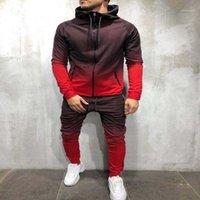 Suit Mens Designer Tracksuits Mens Spring Autumn Zipper Sweatshirt Series 3D Digital Gradient Color Man Jogging Sports Two Piece