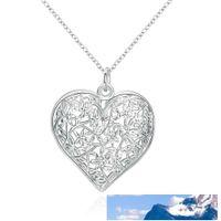 Мода Матовый цветочным узором Подвеска Простые выдалбливают в форме сердца кулон 925 ювелирные изделия цепи стерлингового серебра для женщин Мужчины медальона ожерелья
