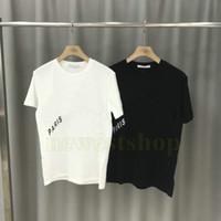Los más nuevos mens parís verano de la ropa diagonal letra de la impresión camisas de la camiseta de moda T para mujer camisetas del diseñador casual de cuello redondo T