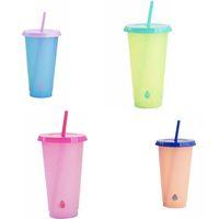 قابلة لإعادة الاستخدام تغيير لون كأس الأزياء مادة PP القهوة القدح مع غطاء من البلاستيك الشفاف درجة الحرارة كؤوس المياه استشعار شفط أنبوبي 5 5hb B2