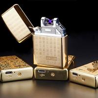 Stampa metallo portatile antivento Accendini ricarica USB Cigarette Lighter Doppia con Letti Cross Fire Arc impulso elettronico Accendino TQQ BH2615