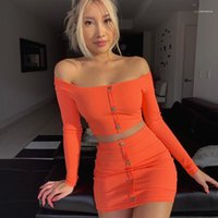 Waist 2PS Set Single Breasted Slash Neck Womens Clothing Sexy Skinny Dress Slim Two Piece Soild Color High