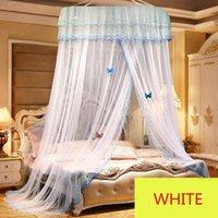 Elegante Spitze Dome Bett Netting Canopy Rosa Gelb Violett Runde Polyester Mesh Moskitonetz Einfach zu installieren Insekt Bedcover Net