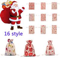 2021 Presente de Natal Bolsas Grande pesado ORGÂNICO BOLSAS de Santa Saco com cordão saco com renas Saco de Papai Noel Bolsas para crianças w-00191