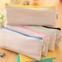 Cosmetic Sac blanc Casse à glissière Crayon Crayon Pochettes Pochettes en coton Sac de maquillage pour téléphone portable Sac d'embrayage Organisateur Maquillage