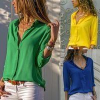 بلايز المرأة بلوزة من الشيفون 2020 الأعلى الربيع الخريف اخفض الياقة قمصان عارضة الزهور مكتب الشريط و تيشرت زائد الحجم XXXL