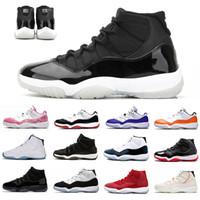 25 주년 기념 나이크 가죽 Air Jordan 11 레트로 망 농구 신발 72-10 Now Concord UNC 11S 모자 및 가운 전설 블루 스페이스 잼 신발