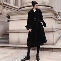 여성 양모 블랜드 빈티지 여성 모직 코트 여성 긴 두꺼운 따뜻한 드레스 코트 대형 재킷 가을 겨울 겉옷
