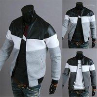 Padrão Panalled listrado Casual Jacket Casual Zipper roupas de outono Mens Designer Bomber Jacket Moda Couro