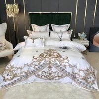 جديد أبيض فاخر الأوروبي الملكي تطريز الذهب 60S الحرير الحرير القطن الفراش مجموعة غطاء لحاف سرير الكتان جاهزة ورقة وسادات لينة حريري