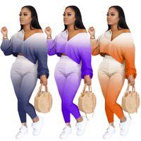 Le donne di colore di pendenza insieme a due pezzi Puff maniche Bassiera E pantaloni della tuta del vestito sexy abiti casual Abbigliamento taglie forti autunno